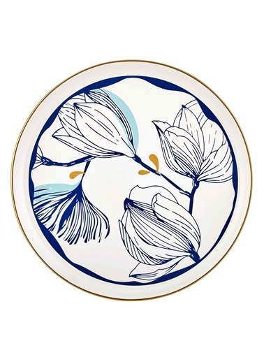 The Mia Bleu Servis Tabağı - 30cm Mavi